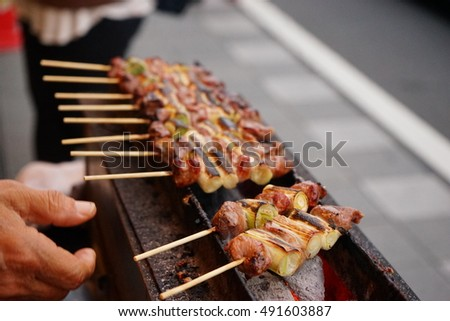 Traditional yakitori chicken stand in Japan