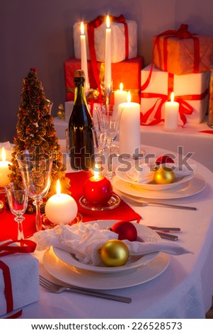 Traditionally set table for Christmas Eve