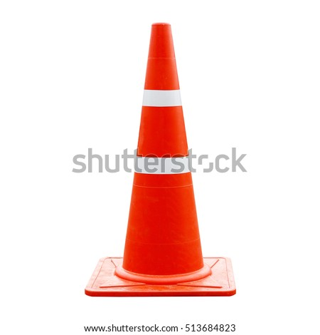Traffic cone, Road sign isolated on white,Safety sign used to prevent accidents during road construction