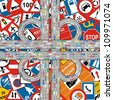 Traffic Jam on Highway at Traffic Signs Background - stock photo