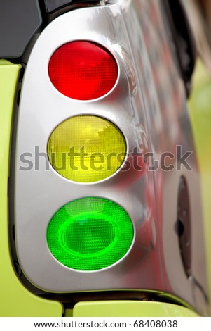 Traffic light collage with car light equipments, safety concept