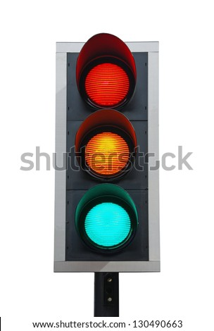 traffic lights isolated on white background (all lights on)