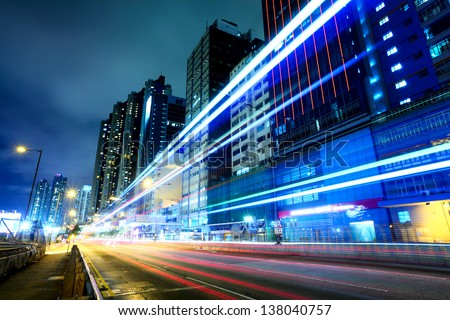 Traffic trail at night in Hong Kong