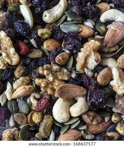 Trail mix with nuts and dried fruits