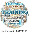 Training end education related words concept in tag cloud - stock vector