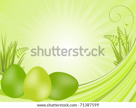 Tranquil spring background with green painted easter eggs on waves with grasses