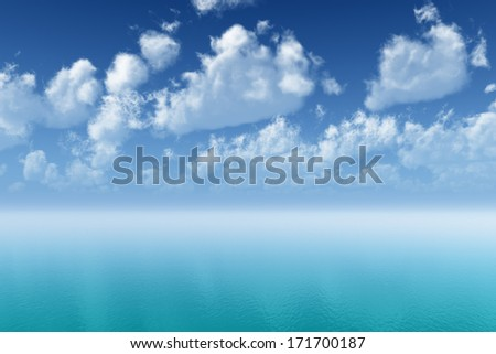 tranquil turquoise ocean ripple with cloudscape reflections