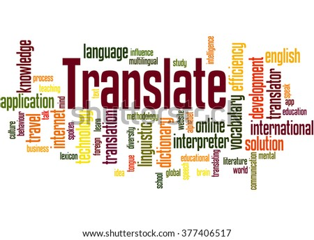 Translate, word cloud concept on white background.