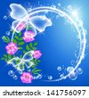 Transparent butterflies, bubbles and flowers. Raster version of vector. - stock photo