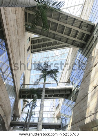 Transparent ceiling and elevated walkway