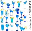 Transparent colorful blue cocktails isolated on a white background - stock photo