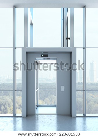 Transparent elevator in penthouse