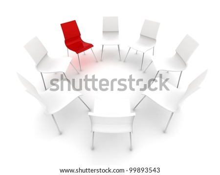 transparent red chair in a circle of white chairs