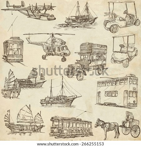 Transport and Vehicles around the World - Collection of an hand drawn illustrations (pack no.6). Description: Full sized hand drawn illustrations, original freehand sketches on old paper.
