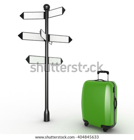 Travel concept. Signpost and suitcase on a white background. 3d render illustration