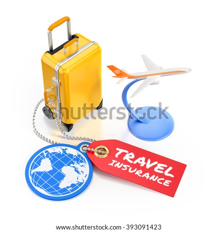 Travel Insurance. Illustration on the subject of Travel and Tourism. 3D rendered graphics on white background.