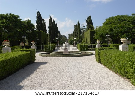 travel, israel, sunny summer day, park design, beautiful avenue in the Bahai Park