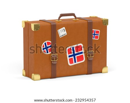 Travel suitcase with flag of norway isolated on white