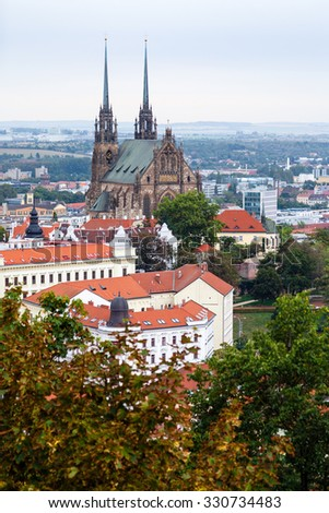 travel to Brno city - above view of Brno city with Cathedral of Saints Peter and Paul, Czech