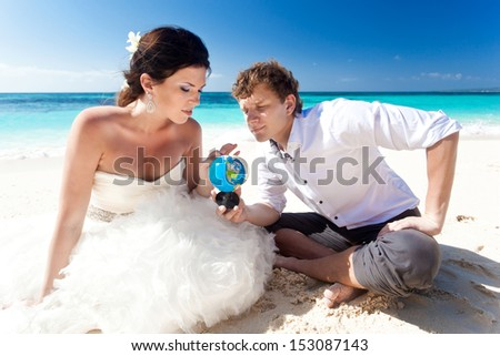 Travel wedding concept. Couple on the beach