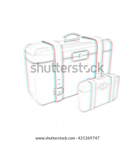 Traveler's suitcases. . Pencil drawing. 3D illustration. Anaglyph. View with red/cyan glasses to see in 3D.