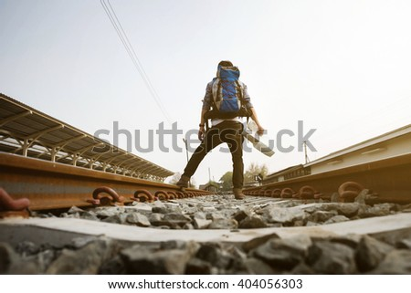 Backpack Hat Train Station Traveler Travel Stock Photo 413464489 ...