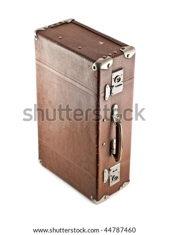 Traveling - aged suitcase isolated over white