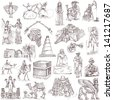 Traveling series: MIDDLE EAST - collection of an hand drawn illustrations. Description: full sized hand drawn illustrations isolated on white. - stock
