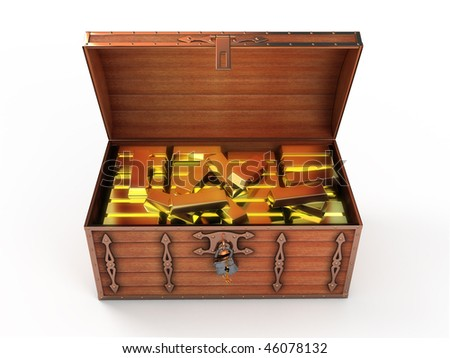 Treasure chest with gold bars