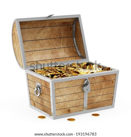 Treasure Chest with Golden Coins isolated on white background