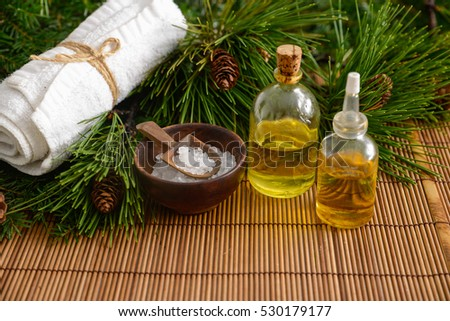 Treatment spa with Christmas decorations on mat