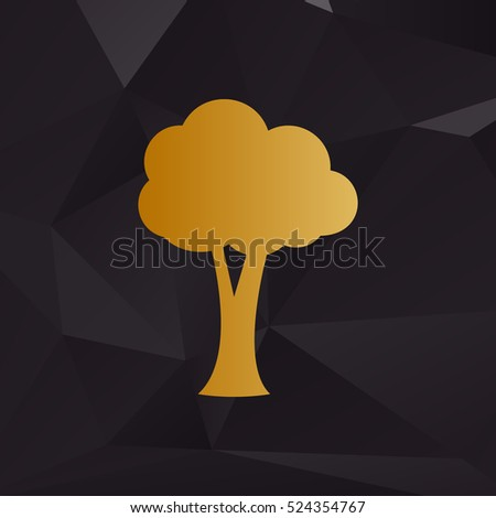 Tree sign illustration. Golden style on background with polygons.