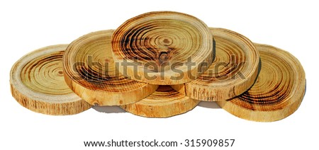 Tree slices without barks