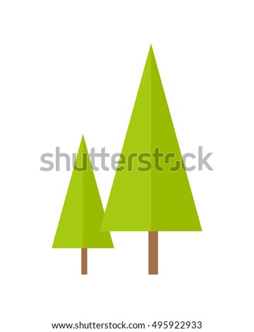 trees illustration in flat style two spruces picture for nature woodworking gardening conceptual