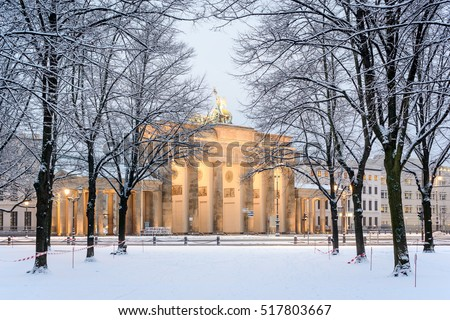 Trees of Berlin Tiergarten and illuminated Brandenburg gate (Brandenburger Tor) in snow, Berlin, Germany, Europe