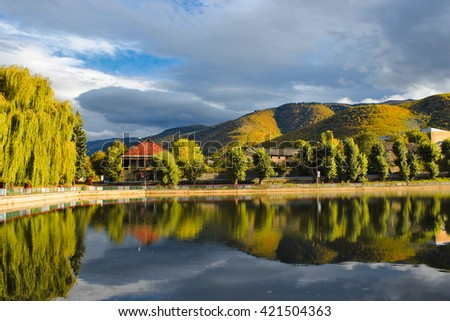 Trees on the lake in the town of Vanadzor, Armenia.