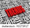 TRENDS 3D text surrounded by calendar dates. Part of a series. - stock photo