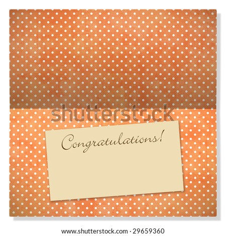 Trendy card with polka dots and label with copyspace to use as an announcement or greeting card