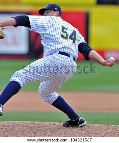 TRENTON, NJ - JUNE 4: Trenton Thunder pitcher Ryan Flannery delivers a pitch during the eastern league baseball game against New Hampshire June 4, 2012 in Trenton, NJ.