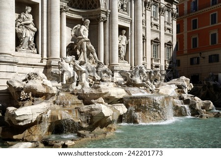 Trevi fountain at Piazza di Trevi in Rome - Fontana di Trevi - Caution: For the editorial use only. Not for advertising or other commercial use!