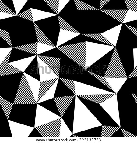 Triangle seamless black and white pattern. Raster version.