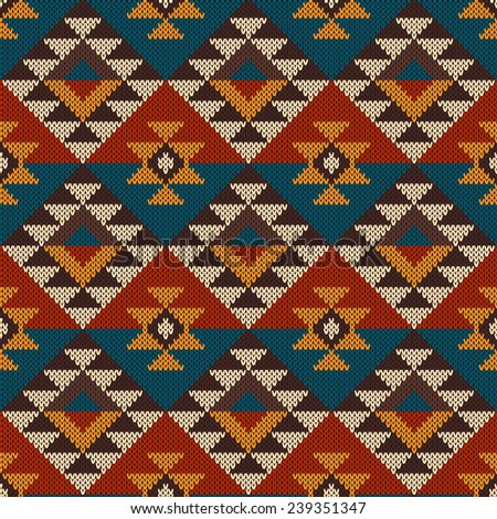 Seamless Knitted Navajo Pattern Vector Illustration Stock