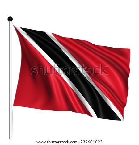 Trinidad and Tobago flag with fabric structure on white background