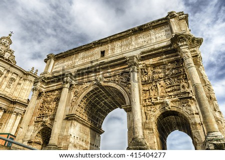 Triumphal Marble Arch of Septimius Severus on the Capitoline Hill, Roman Forum, Rome, Italy
