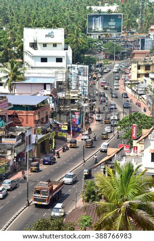 TRIVANDRUM, KERALA, INDIA, MARCH 09, 2016: Bird's eye view of Ambalamukku, Trivandrum, from the top of Hotel Windsor Rajadhani, on a bright sunny day. The city is still green.