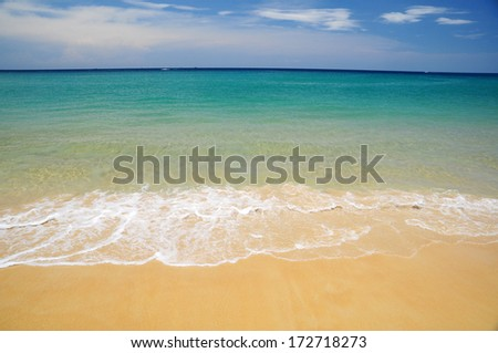 Tropical beach and wave in emerald color crystal-clear water, Andaman Sea asia Thailand