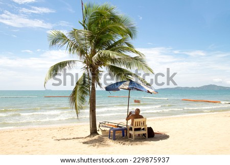 Tropical beach with palm trees, Thailand