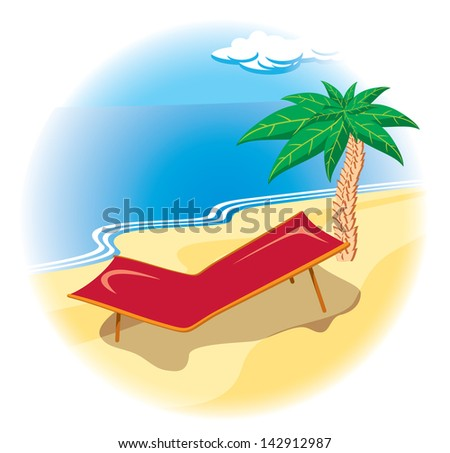 Tropical coast with palm and deck chair