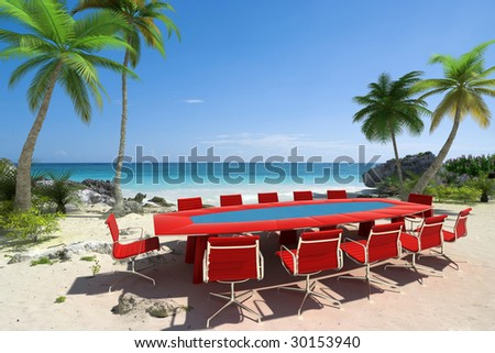 Tropical cove with a meeting room table and chairs