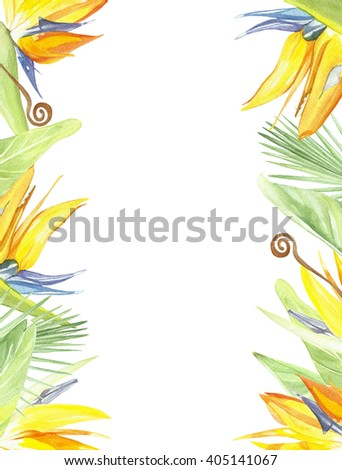 tropical frame bird of paradise, palm. greeting card, invitation